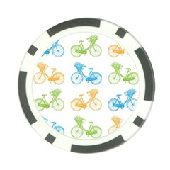 Vintage Bikes With Basket Of Flowers Colorful Wallpaper Background Illustration Poker Chip Card Guard (10 Pack) by Simbadda