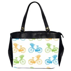 Vintage Bikes With Basket Of Flowers Colorful Wallpaper Background Illustration Office Handbags (2 Sides)  by Simbadda