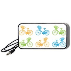 Vintage Bikes With Basket Of Flowers Colorful Wallpaper Background Illustration Portable Speaker (black) by Simbadda