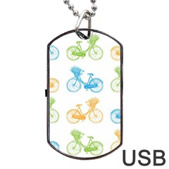 Vintage Bikes With Basket Of Flowers Colorful Wallpaper Background Illustration Dog Tag Usb Flash (one Side) by Simbadda