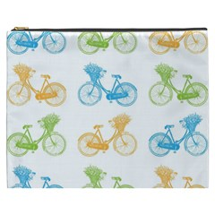 Vintage Bikes With Basket Of Flowers Colorful Wallpaper Background Illustration Cosmetic Bag (xxxl)  by Simbadda