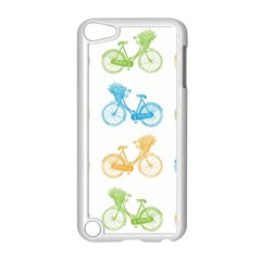 Vintage Bikes With Basket Of Flowers Colorful Wallpaper Background Illustration Apple Ipod Touch 5 Case (white) by Simbadda