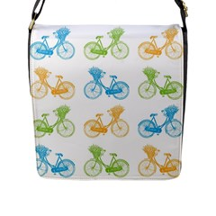 Vintage Bikes With Basket Of Flowers Colorful Wallpaper Background Illustration Flap Messenger Bag (l)  by Simbadda