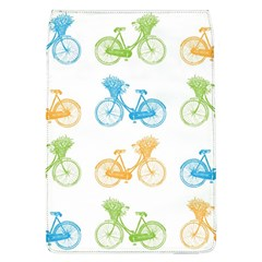 Vintage Bikes With Basket Of Flowers Colorful Wallpaper Background Illustration Flap Covers (l)  by Simbadda