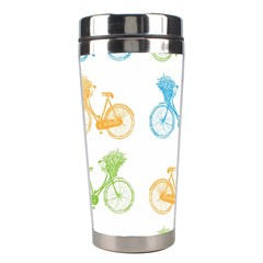 Vintage Bikes With Basket Of Flowers Colorful Wallpaper Background Illustration Stainless Steel Travel Tumblers by Simbadda