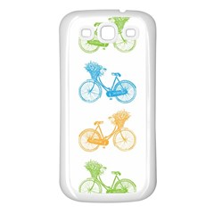 Vintage Bikes With Basket Of Flowers Colorful Wallpaper Background Illustration Samsung Galaxy S3 Back Case (white) by Simbadda