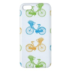 Vintage Bikes With Basket Of Flowers Colorful Wallpaper Background Illustration Iphone 5s/ Se Premium Hardshell Case by Simbadda