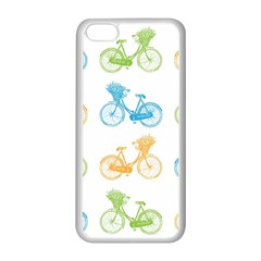 Vintage Bikes With Basket Of Flowers Colorful Wallpaper Background Illustration Apple Iphone 5c Seamless Case (white) by Simbadda