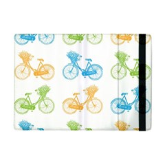Vintage Bikes With Basket Of Flowers Colorful Wallpaper Background Illustration Ipad Mini 2 Flip Cases by Simbadda
