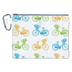 Vintage Bikes With Basket Of Flowers Colorful Wallpaper Background Illustration Canvas Cosmetic Bag (xxl) by Simbadda