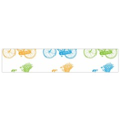 Vintage Bikes With Basket Of Flowers Colorful Wallpaper Background Illustration Flano Scarf (small)