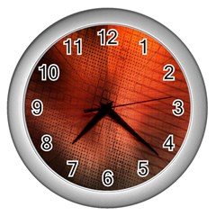 Background Technical Design With Orange Colors And Details Wall Clocks (silver)  by Simbadda