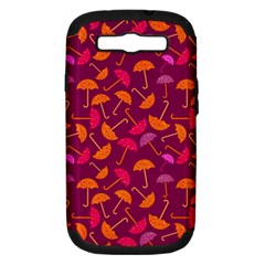 Umbrella Seamless Pattern Pink Lila Samsung Galaxy S Iii Hardshell Case (pc+silicone) by Simbadda