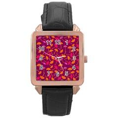Umbrella Seamless Pattern Pink Lila Rose Gold Leather Watch  by Simbadda