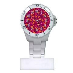 Umbrella Seamless Pattern Pink Lila Plastic Nurses Watch by Simbadda
