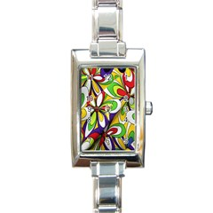 Colorful Textile Background Rectangle Italian Charm Watch by Simbadda