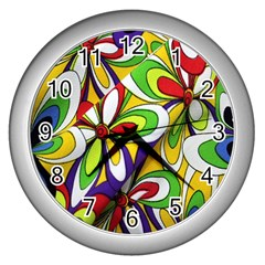 Colorful Textile Background Wall Clocks (silver)  by Simbadda