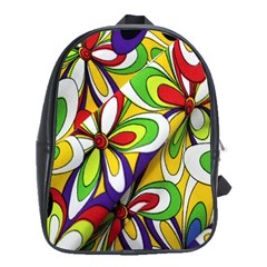 Colorful Textile Background School Bags(large)  by Simbadda