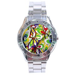 Colorful Textile Background Stainless Steel Analogue Watch by Simbadda