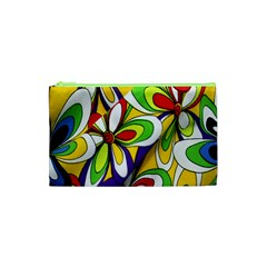 Colorful Textile Background Cosmetic Bag (xs) by Simbadda