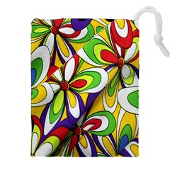 Colorful Textile Background Drawstring Pouches (xxl) by Simbadda