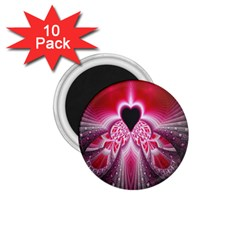 Illuminated Red Hear Red Heart Background With Light Effects 1 75  Magnets (10 Pack)  by Simbadda