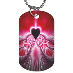Illuminated Red Hear Red Heart Background With Light Effects Dog Tag (one Side) by Simbadda