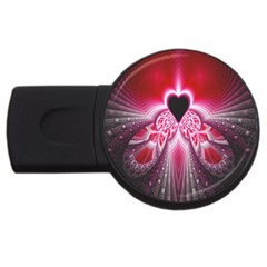 Illuminated Red Hear Red Heart Background With Light Effects Usb Flash Drive Round (2 Gb) by Simbadda