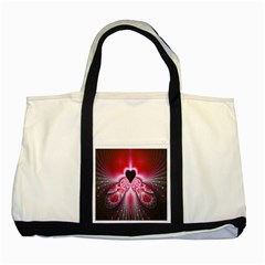 Illuminated Red Hear Red Heart Background With Light Effects Two Tone Tote Bag by Simbadda
