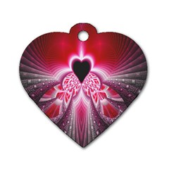 Illuminated Red Hear Red Heart Background With Light Effects Dog Tag Heart (one Side) by Simbadda