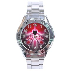 Illuminated Red Hear Red Heart Background With Light Effects Stainless Steel Analogue Watch by Simbadda
