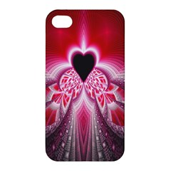Illuminated Red Hear Red Heart Background With Light Effects Apple Iphone 4/4s Hardshell Case by Simbadda