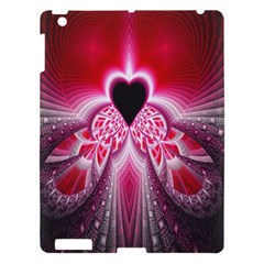 Illuminated Red Hear Red Heart Background With Light Effects Apple Ipad 3/4 Hardshell Case by Simbadda