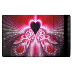 Illuminated Red Hear Red Heart Background With Light Effects Apple Ipad 2 Flip Case by Simbadda