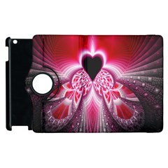Illuminated Red Hear Red Heart Background With Light Effects Apple Ipad 3/4 Flip 360 Case by Simbadda