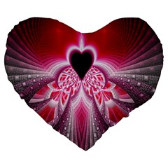 Illuminated Red Hear Red Heart Background With Light Effects Large 19  Premium Heart Shape Cushions by Simbadda