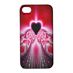 Illuminated Red Hear Red Heart Background With Light Effects Apple Iphone 4/4s Hardshell Case With Stand by Simbadda
