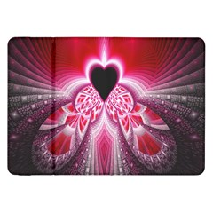 Illuminated Red Hear Red Heart Background With Light Effects Samsung Galaxy Tab 8 9  P7300 Flip Case by Simbadda