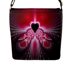 Illuminated Red Hear Red Heart Background With Light Effects Flap Messenger Bag (l)  by Simbadda