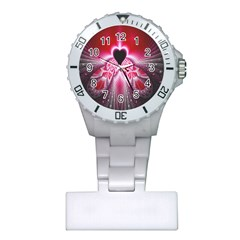 Illuminated Red Hear Red Heart Background With Light Effects Plastic Nurses Watch by Simbadda
