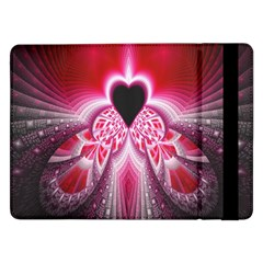 Illuminated Red Hear Red Heart Background With Light Effects Samsung Galaxy Tab Pro 12 2  Flip Case by Simbadda