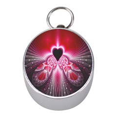 Illuminated Red Hear Red Heart Background With Light Effects Mini Silver Compasses by Simbadda