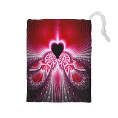Illuminated Red Hear Red Heart Background With Light Effects Drawstring Pouches (large)  by Simbadda