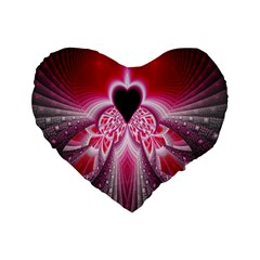 Illuminated Red Hear Red Heart Background With Light Effects Standard 16  Premium Flano Heart Shape Cushions by Simbadda