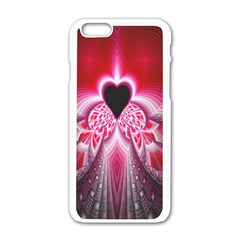 Illuminated Red Hear Red Heart Background With Light Effects Apple Iphone 6/6s White Enamel Case by Simbadda