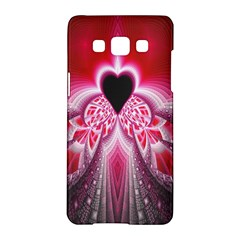 Illuminated Red Hear Red Heart Background With Light Effects Samsung Galaxy A5 Hardshell Case  by Simbadda