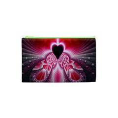Illuminated Red Hear Red Heart Background With Light Effects Cosmetic Bag (xs) by Simbadda
