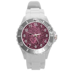Abstract Purple Background Natural Motive Round Plastic Sport Watch (L)