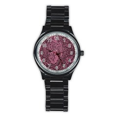 Abstract Purple Background Natural Motive Stainless Steel Round Watch by Simbadda