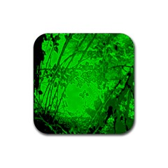 Leaf Outline Abstract Rubber Square Coaster (4 Pack)  by Simbadda